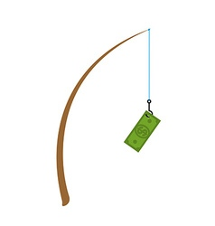 Fishing rod and dollar Fishing gear and cash Money vector image