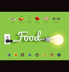 Food ideas concept creative light bulb design vector image
