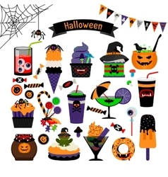 Halloween witchcraft sweets flat icons vector
