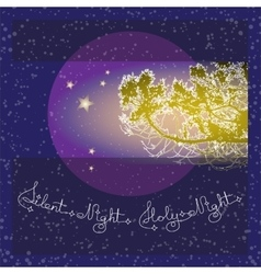 Handwritten text silent holy night and branch on vector