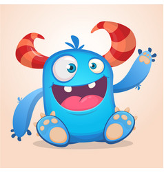 Happy cute cartoon monster halloween vector