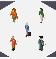 Isometric person set of lady hostess pedagogue vector