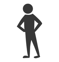 Men pictogram with her hands in the waist vector