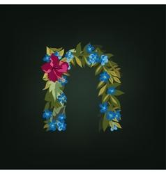 N letter flower alphabet colorful font vector
