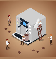 people making coffee with espresso machine vector image vector image