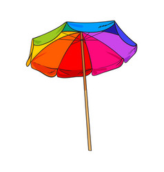 Rainbow colored open beach umbrella sketch style vector