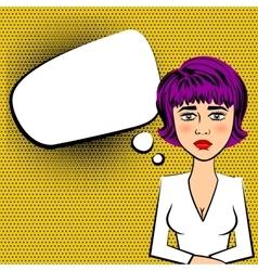 Sad beautiful woman with purple hair vector