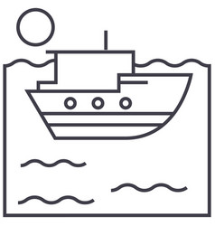 sea ship line icon sign on vector image