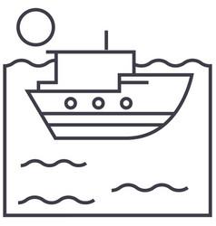 sea ship line icon sign on vector image vector image