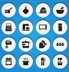 set of 16 editable food icons includes symbols vector image vector image