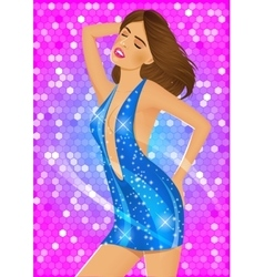 sexy brunette girl in blue dress vector image