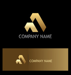 shape triangle gold business logo vector image vector image