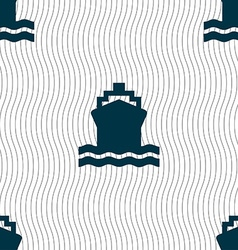 ship icon sign Seamless pattern with geometric vector image