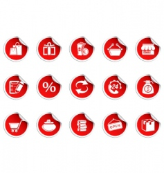 shopping icons sticky series vector image vector image