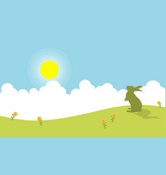 Silhouette of one bunny on hill landscape vector