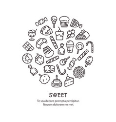 sweet desserts thin line icons - candies round vector image vector image