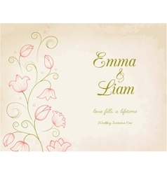 Wedding invitation card with pink lily flowers vector image vector image