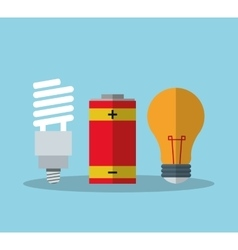 Light bulb and battery design vector