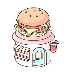 A hamburger house vector image