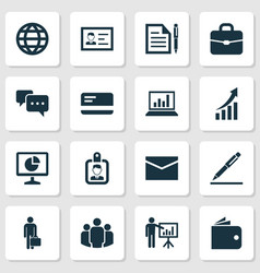 Job icons set collection of billfold work man vector