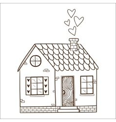 Cute house with hearts vector image
