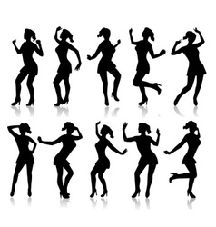 Silhouettes of a dancing woman vector