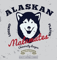 Alaskan malamute club tee graphic vector