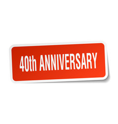 40th anniversary square sticker on white vector