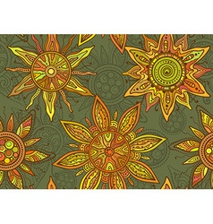 Seamless pattern with indian ornament of the suns vector