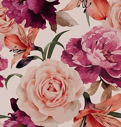 Seamless floral pattern with roses watercolor vector
