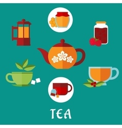 Flat tea icons with teacups and teapots vector