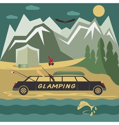 Glamor camping flat design landscape with vector