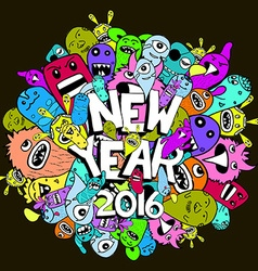 New year 2016 doodle hipster colorful background vector