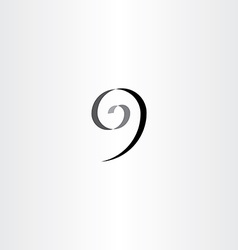 Stylized number 9 nine black spiral icon vector