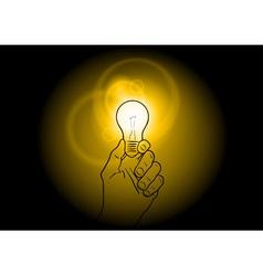 Light bulb shining on the dark vector