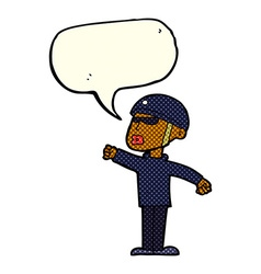 Cartoon security guy with speech bubble vector