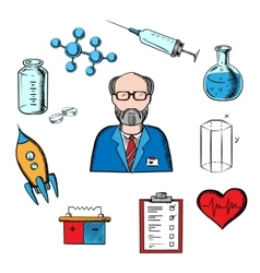 Different sciences and research icons vector image