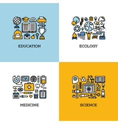 Icons set of education ecology medicine science vector
