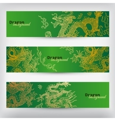 Background with asia dragons banner set vector