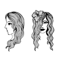 Black and white sketches of beautiful girls vector image vector image