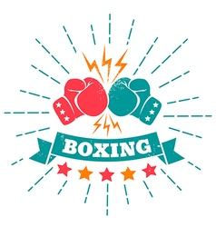 boxing retro ribbon vector image vector image