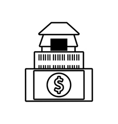 Building real estate dollar money outline vector