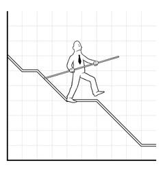Business man balancing on declining graph vector