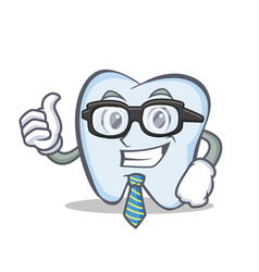businessman tooth character cartoon style vector image vector image