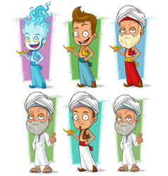 Cartoon persian and jinn with lamp character set vector