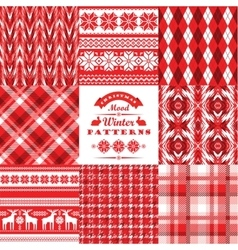 Christmas and new year setplaid and ornamental vector