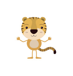 Colorful caricature of cute tiger happiness vector