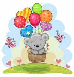 cute teddy bear with balloons vector image