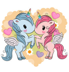 cute unicorns on a hearts background vector image vector image