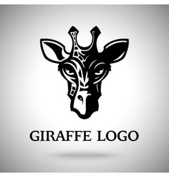 dark giraffe head template for logo badge vector image vector image